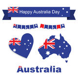 Australia flag, banner and heart icon patterns set Stock Photography