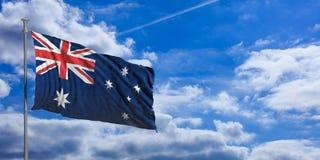 Australia flag on a blue sky background. 3d illustration Royalty Free Stock Image