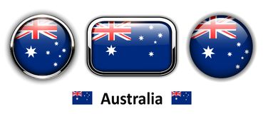 Australia flag buttons. 3d shiny vector icons royalty free illustration