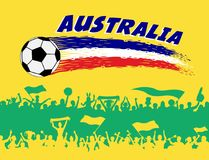 Australia flag colors with soccer ball and Australian supporters. Silhouettes. All the objects, brush strokes and silhouettes are in different layers and the Royalty Free Stock Images