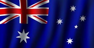 Vector 3D flag of Australia national symbol. Australia flag 3D background of white stars and British flag on blue background. Australian republic country Stock Images