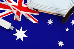 Free Australia Flag Depicted On Table With Internet Rj45 Cable, Wireless Usb Wifi Adapter And Router. Internet Connection Concept Stock Images - 165869124