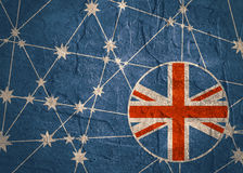 Australia flag design concept. Image relative to travel and politic themes. Molecule And Communication Background. Grunge texture. Connected lines with stars Stock Photos
