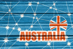 Australia flag design concept. Image relative to travel and politic themes. Molecule And Communication Background. Wood texture. Connected lines with stars Stock Image