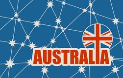 Australia flag design concept. Image relative to travel and politic themes. Australia red text. Vector brochure or report design template. Connected lines with Royalty Free Stock Photo