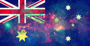 Australia flag design concept. NASA image overlay. Image relative to travel and politic themes Royalty Free Stock Photography