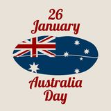 Australia flag design concept. Flag printed on woman lips. Image relative to travel and politic themes. 26 January Australia Day text Stock Image