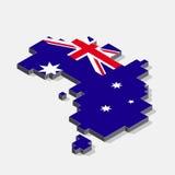Australia flag on map element with 3D isometric shape isolated o Stock Photo