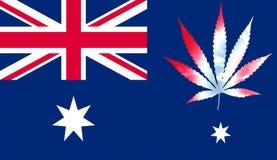 Australia flag with marijuana leaf Stock Image