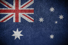 Australia Flag. Painted on leather texture Royalty Free Stock Image