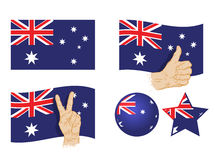 Australia flag. Set of vector icons Stock Image