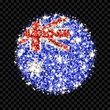 Australia flag sparkling badge. Commonwealth of Australia flag sparkling badge. Round icon with Australian national colors with glitter effect. Button design vector illustration