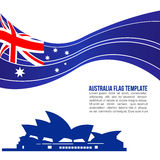 Australia flag wave and opera house symbols Stock Photos