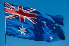 australia flag while waving Royalty Free Stock Images