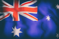 Australia flag waving. 3d rendering of an old Australia and flag Stock Images