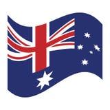 Australia flag waving emblem icon. Australian flag waving emblem icon  illustration eps 10 Stock Image