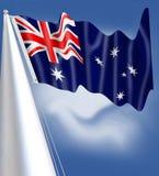 Australia flag waving sillky stars kangaroo coala south crosss stock illustration