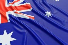 Australia flag. Wavy fabric high detailed texture. 3d illustration rendering stock illustration