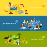 Australia flat banner set. Australia travel flat banner set with australian tourism lifestyle nature isolated vector illustration Stock Image