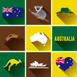 Australia Flat Icon Set. Set of vector graphic flat icons representing symbols and landmarks of Australia Royalty Free Stock Image
