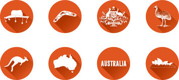 Australia Flat Icon Set. Set of vector graphic flat icons representing symbols and landmarks of Australia Royalty Free Stock Photo
