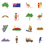 Australia Flat Icons Set Stock Photo