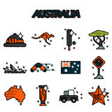Australia flat icons set. Vector illustration, EPS 10 Royalty Free Stock Photo