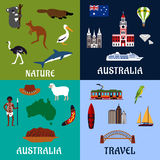 Australia flat travel symbols and icons. Australia travel symbols and icons in flat style with national flag, map, landmarks, surfboard and yachts, boomerang Stock Photo