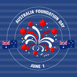 Australia Foundation Day label  on blue.  Vector illustration Royalty Free Stock Photography