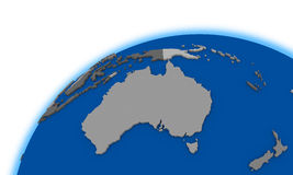 Australia on globe political map Royalty Free Stock Photos