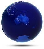 Australia globe white isolated Stock Images