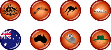 Australia Glossy Icon Set Stock Photography