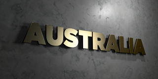Australia - Gold sign mounted on glossy marble wall - 3D rendered royalty free stock illustration. This image can be used for an online website banner ad or a royalty free illustration