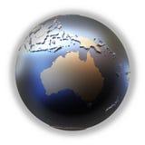 Australia on golden metallic Earth Stock Photo