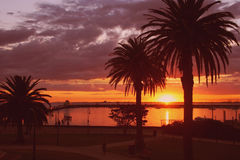 Australia Golden Sunset. Sun setting over the ocean at St Kilda Pier, Melbourne, Australia Royalty Free Stock Photo