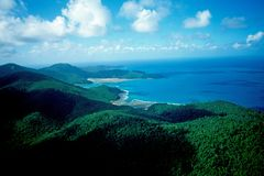 Australia, Great Barrier Reef: Airshot from the White Sunday Islands and White Heaven Beach royalty free stock image