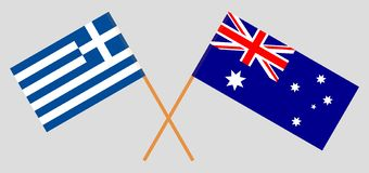 Australia and Greece. The Australian and Greek flags. Official colors. Correct proportion. Vector. Illustrationn stock illustration