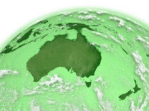 Australia on green Earth Royalty Free Stock Images