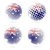 Australia halftone flag set patriotic vector. Australia halftone flag set patriotic vector design. 3D halftone sphere in Australia national flag colors isolated Stock Image
