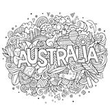 Australia hand lettering and doodles elements Royalty Free Stock Photo