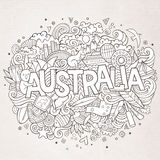 Australia hand lettering and doodles elements Stock Photography