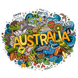 Australia hand lettering and doodles elements Stock Photos