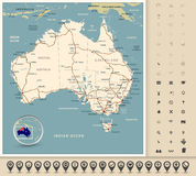 Australia - Highly detailed editable road map Royalty Free Stock Photography