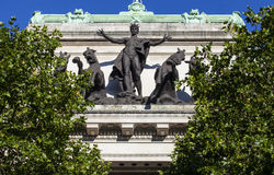 Australia House Facade in London. The quadriga statue on the exterior of Australia House on the Strand in London royalty free stock image