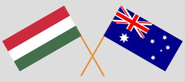 Australia and Hungary. The Australian and Hungarian flags. Official colors. Correct proportion. Vector. Illustrationn vector illustration