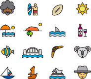 Australia icon set. Colorful set of icons relating to Australia Royalty Free Stock Image