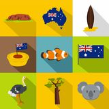 Australia icon set, flat style Royalty Free Stock Photography