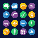 Australia Icons Flat Design Circle Stock Photos