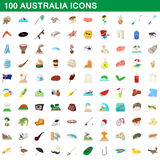 100 australia icons set, cartoon style Royalty Free Stock Photos