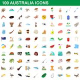 100 australia icons set, cartoon style. 100 australia icons set in cartoon style for any design illustration royalty free illustration